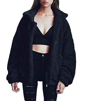 PRETTYGARDEN Women s Fashion Long Sleeve Lapel Zip Up Faux Shearling Shaggy Oversized Coat Jacket with Pockets Warm Winter