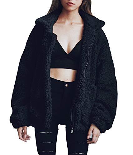 PRETTYGARDEN Women's Fashion Long Sleeve Lapel Zip Up Faux Shearling Shaggy Oversized Coat Jacket With Pockets Warm Winter (Black, Medium)