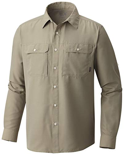 Mountain Hardwear Men's Canyon Solid Long Sleeve Shirt for Hiking, Climbing, Camping, and Casual Everyday - Badlands - XX-Large