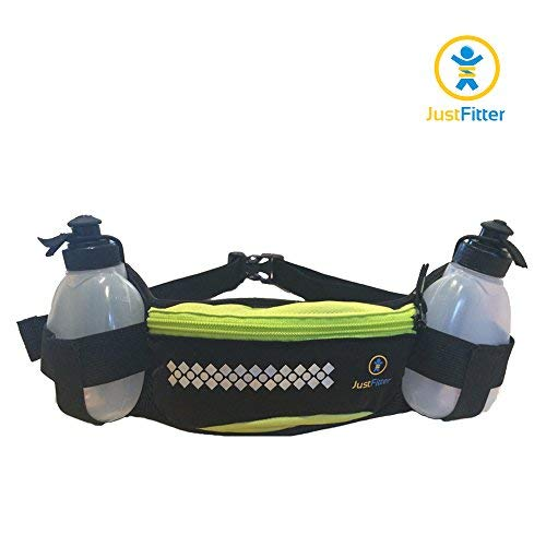 Just Fitter Hydration Belt for Runners. Men and Women Water Bottle Waist Belt for Running with Pocket to Fit iPhone 6 Sizes. (1 Pack)