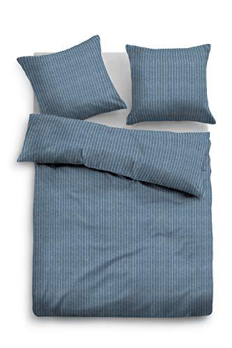 TOM TAILOR 0849915 Bettwäsche Garnitur mit Kopfkissenbezug Melange Flanell Pinestripe 1x 135x200 cm + 1x 80x80 cm jeans