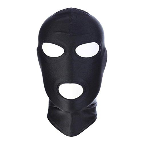LUOEM Zentai Hood Mask Elástico Negro Transpirable Open Eyes Abrebocca Face Cover Blindfold Máscara Cosplay Disfraz Hood Unisex Gorro Talla M