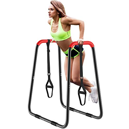 EveryMile Dip Station, Multi-Function Dip Bar Stands, Parallel Bars with Handles, Heavy Duty Strength Training Pull Up Stand for Triceps Dips, Push-Ups, L-Sits, Home Gym Fitness Workout