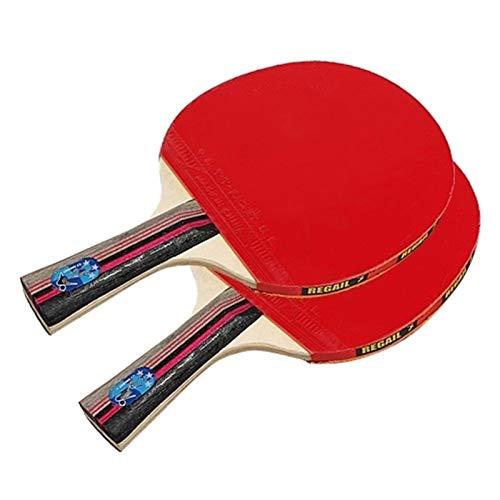 BTTNW Paleta De Ping Pong Raquetas de Tenis de Calidad de paletas de Pong 2 murciélagos de Pong Mango Largo Pong Juego de Raquetas Se Dan La Mano Grips (Color : Red, Size : One Size)