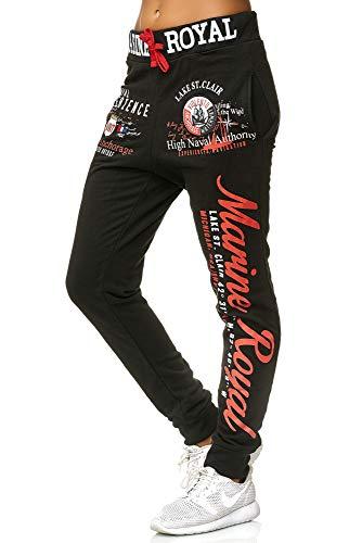 Violento Jogginghose Damen lang | Trainingshose 100% Baumwolle | Sporthose mit Bündchen | Enger Beinabschluss | Marine Royal 512 (M=Fällt Groß aus, Schwarz/Rot)
