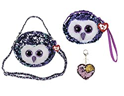 Moonlight Changing Glitzy Sequins Plush Purse With Keychain