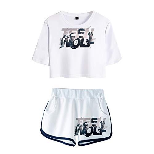 Sjhgfrsd Teen Wolf Set di Abbigliamento T-Shirt a Maniche Corte con Scollo a T-Shirt Slim Fit Tuta Sportiva Sexy da Donna Donne (Color : A03, Size : M)