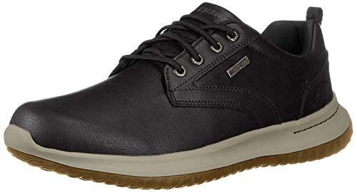 Skechers Delson-Antigo, Zapatos de Cordones Oxford Hombre, Negro (BLK Black Leather), 43 EU