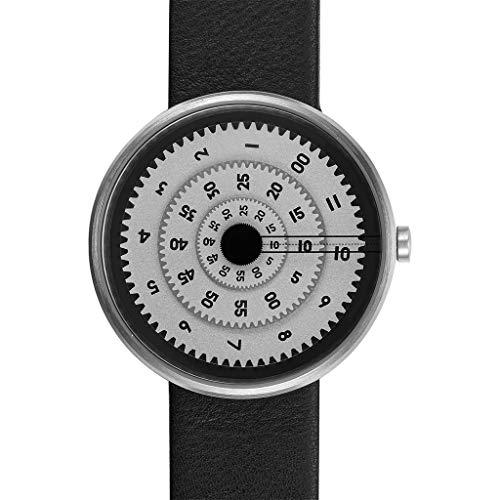 Projects Vault Time Machine - Reloj de esfera blanca con correa de cuero para hombre