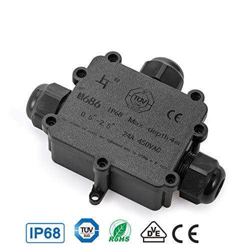 Abzweigdose TÜV geprüfte IP68 wasserdicht Kabelverbinder Verbindungsdose Erdkabel Schwarz Elektrischer Außenverteilerdose für Kabeldurchmesser Ø4mm-14mm(T-form, 1er-pack)