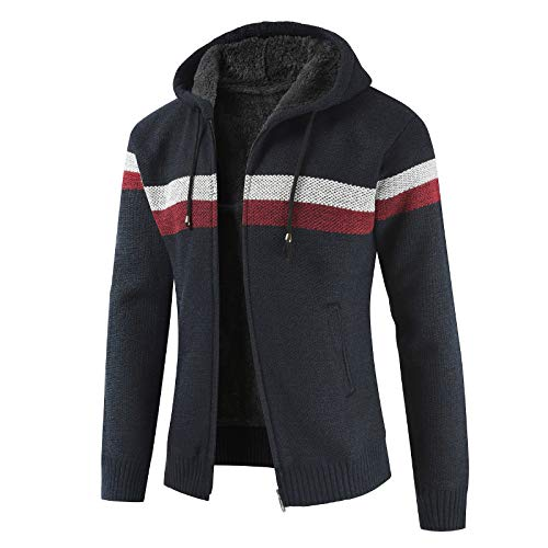 Men's Cardigan Sweater Striped Printing Stitching Drawstring Hooded Thickened Slim with Long Sleeves Coat,with Pocket 3XL Navy Blue