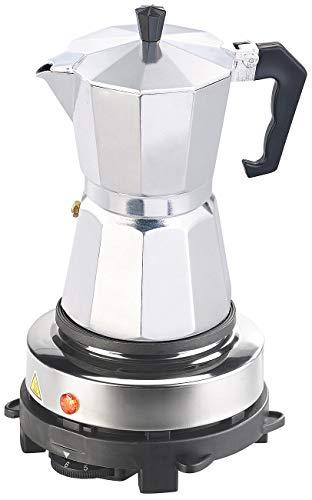 Rosenstein & Söhne Kochfeld: Elektrische Mini-Einzel-Kochplatte & Espresso-Kocher, 500 W, 6 Tassen (Elektrischer Espressokocher)