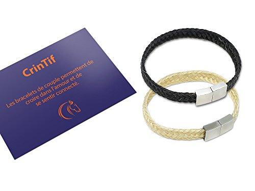 2 Paar-Armbänder aus Pferdehaar – 18 bis 21 cm – Armband Kollektion Tennessee – flach geflochten – Schmuck für Damen und Herren – Weiß und Schwarz - 21.00