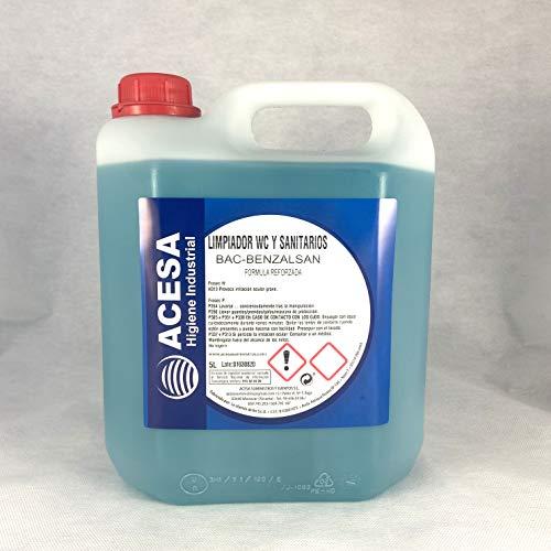 Limpiador Bactericida Desinfectante de WC y Sanitarios uso Profesional y Doméstico Todo tipo de superficies Aseos Aroma refrescante ACESA Formato industrial 5 litros