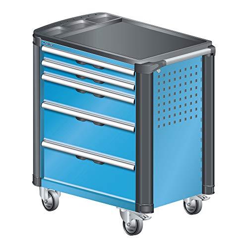 LISTA Art.Nr. 81.073.010 Werkstattwagen mit Kunststoffabdeckung und Kantenschutz 36x27E (BxTxH) 894x525x928mm 5 Schubladen Lichtblau RAL 5012