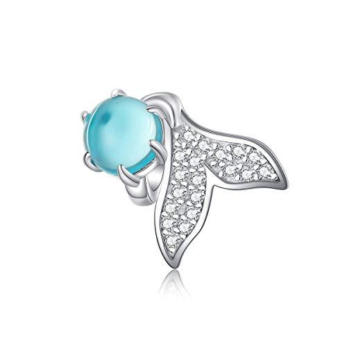 Abalorio de plata de ley 925 con forma de cola de delfín y cristal azul compatible con pulseras Pandora y collares