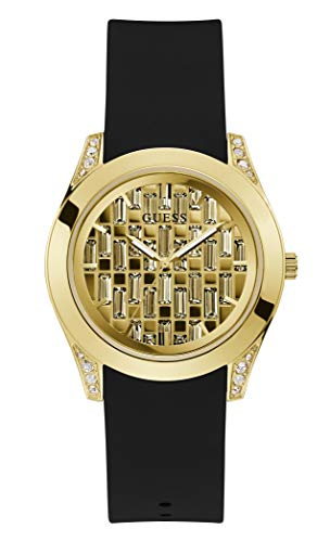 GUESS Women's Stainless Steel Quartz Watch with Silicone Strap, Black, 20 (Model: GW0109L1)