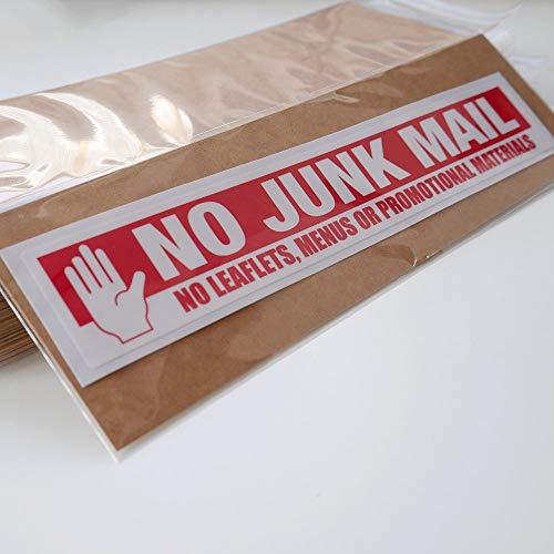 Geen Junk Mail brievenbus Sticker 19cm x 3cm Stop Folders en Menus Deur Premium UV Gelamineerd