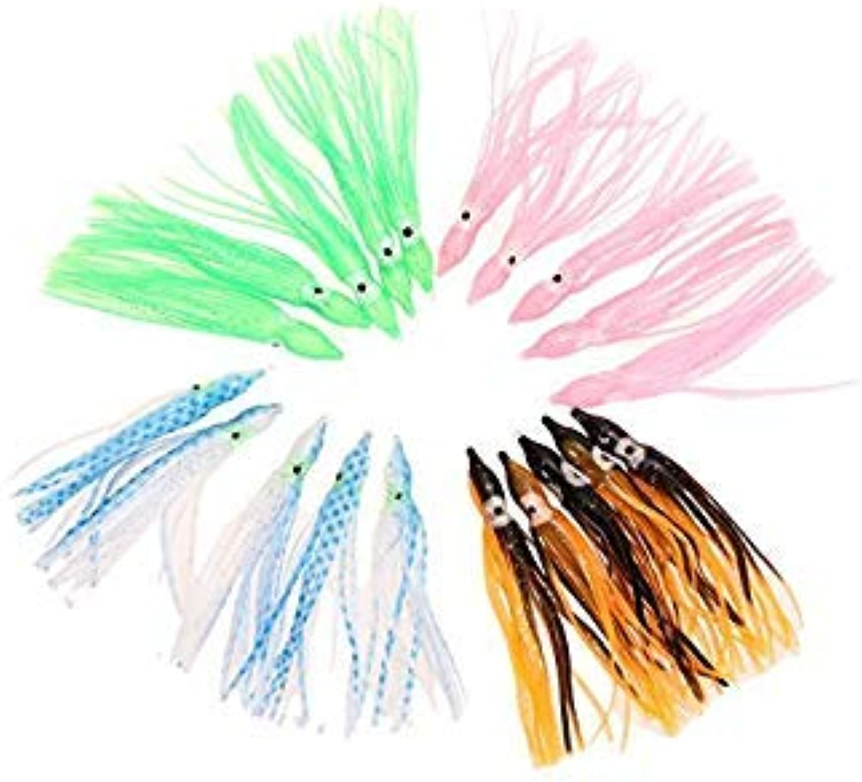 Wholesale 50pcs Fishing Lures Random Mixed color 3.5 Octopus Bait 10 colors Fishing Lure EA14