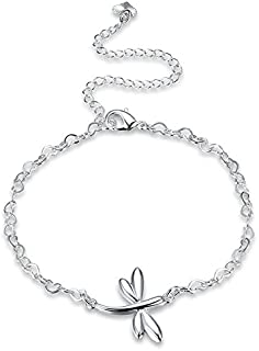 Women Jewelry Anklets - Delicate 925 Silver Plated Dragonfly Pendant Anklet Bracelet Clothing Accessories - Silver -1 x Anklet Notice:1. Please understand the product