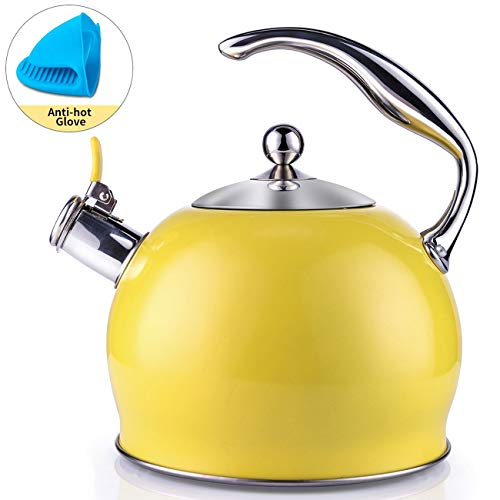 Tea Kettle Best 3 Quart induction Modern Stainless Steel Surgical Whistling Teapot -Tea Pot For...