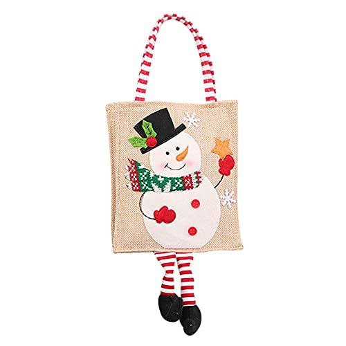 ZhangyJ Bolsas de Navidad con asas, bolsa de regalo reutilizable para Navidad, bolsas de compras de comestibles, bolsa de lona de algodón para ir de compras, viajes y trabajo escolar