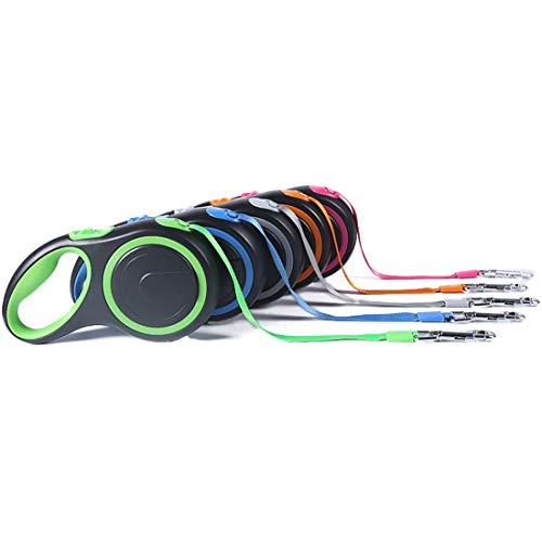 Dingziyue Automatische einziehbare Hundeleine Haustier Zugseil Gehtraining Blei-Leine-Reflective Seil, 5 Meter (Color : Malachite Green, Size : 5 Meters)