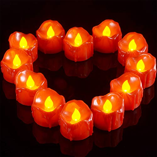 Ymenow Red Flameless Tea Lights, 12pcs Battery Operated LED Flickering Candle Votive Candles with Dripping Wax for Home Room Valentine's Day Wedding Dinner Holiday Party Decor - Amber Yellow