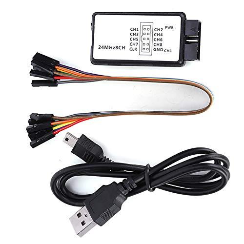 Logikanalysator, LA1002 Tragbarer Mini-USB-5-MHz-24-MHz-80-ns-8-Kanal-Logikanalysator mit Kabelsatz, weit verbreitet in der Automobilelektronik und Computerindustrie