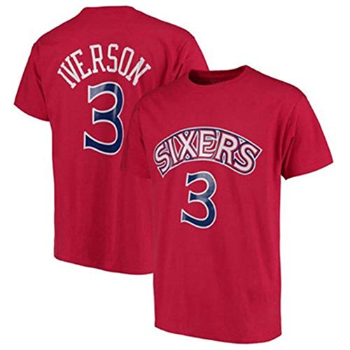 ZSPSHOP Iverson Camiseta de manga corta de baloncesto de la NBA de manga corta para hombre (color rojo 3, tamaño: grande)