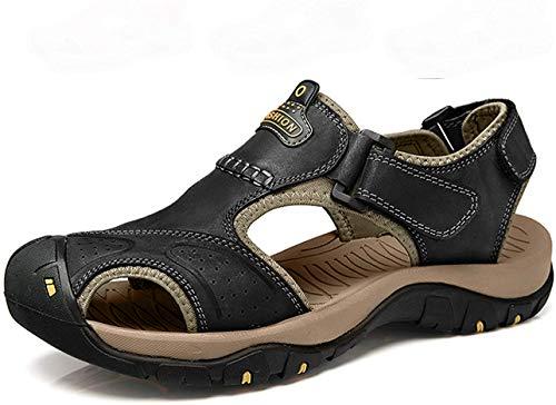 Hombres Deportivas Senderismo Sandalias Verano Trekking Zuecos cangrejeras Chanclas Zapatos Zapatillas Playa Pescador Cuero Deportiva(Negro,45 EU,28.5CM De talón a Dedo del pie