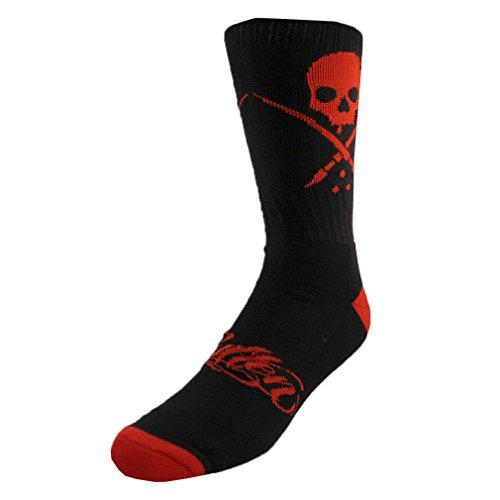 Sullen Clothing - Sullen Art Collective Herren Socken Totenkopf Logo - Standard Crew Socks Schwarz-Rot Gr. 39-44