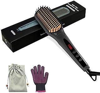 Hårplattång borste, Bawanfa 2 i 1 elektrisk jonisk hårrätningsborste varm kam utjämningsborste med värmebeständig handske,...