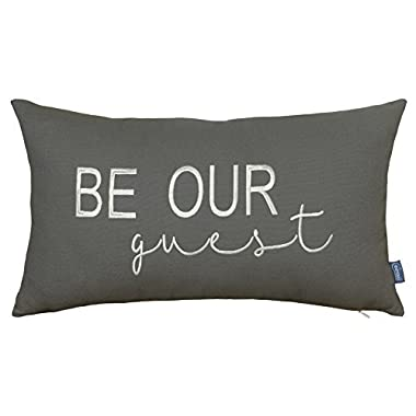 DecorHouzz Be Our Guest Embroidered Pillow Cover Pillow Cases Throw Pillow Decorative Pillow Wedding Birthday Anniversary Gift 12 x20  (Grey)