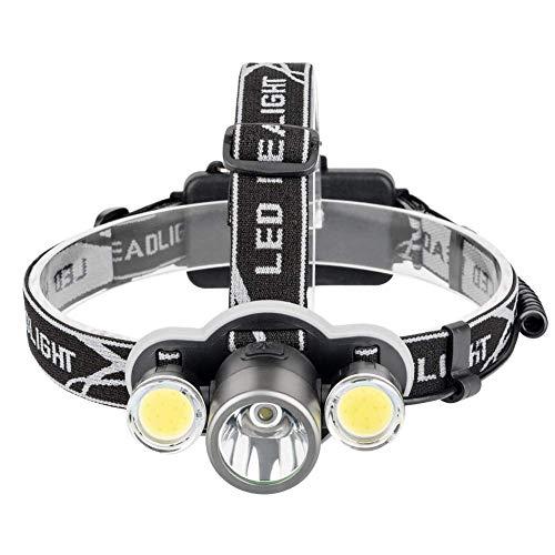 CCLLA Linterna Frontal Linterna Frontal LED 6000 Lumen XML T6 + 2COB Linterna Recargable Lámpara Frontal Linterna 18650 Batería Luz de Pesca para Acampar Linterna estándar Linternas de antorcha