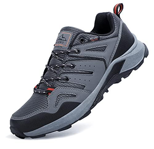 ASTERO Zapatillas Running Hombre Zapatos para Deportes Montañao Ligero Sneakers Casual Gimnasi Outdoor Trekking Transpirables Correr Talla 41-46(Gris, Numeric_43)
