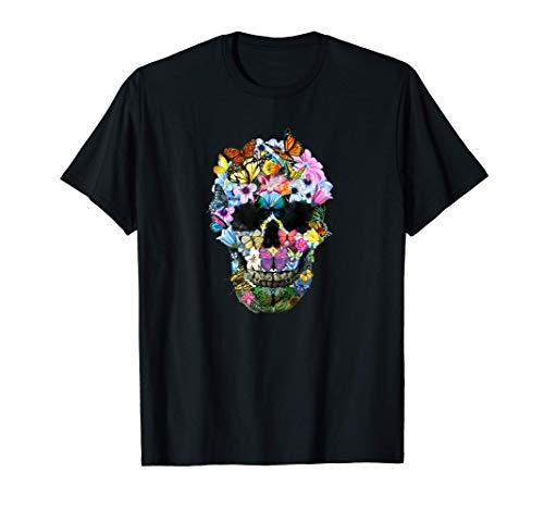 Camisas de calavera para mujer Floral...