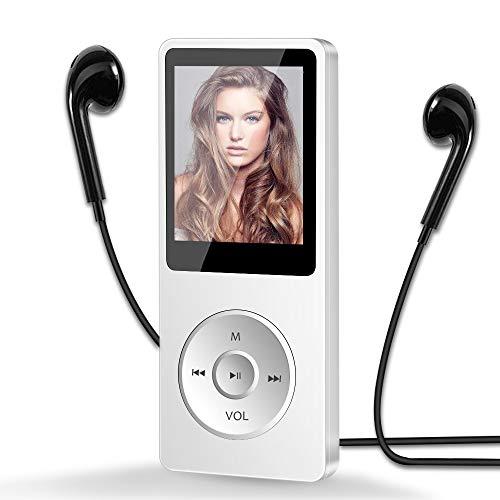 Aigital MP3 Player 16GB, HiFi Musik-Player MP3 mit 1.8 Zoll Bildschirm, 30 Stunden Wiedergabezeit, Unterstützung FM Radio/Bild/E-Book/Aufnahmen, bis128G TF Karte-Weiß
