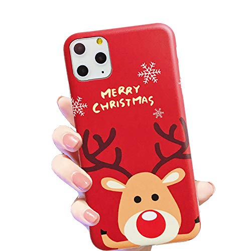 HUIYCUU Case for iPhone 11 Pro Max Case 6.5', Merry Christmas Shockproof Cute Pretty Design Flexible Rose Pattern Slim Soft Bumper Gifts Girl Women Cover Compatible with iPhone 11Pro Max,Deer Red