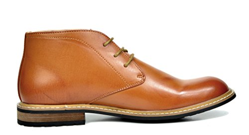 Bruno Marc Men's Bergen-02 Brown Leather Lined Oxfords Dress Ankle Boots – 9 M US