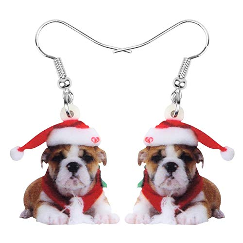 DOWAY Acrylic Christmas Hat Suits French Bulldog Dog Earrings Pet Dangle Drop Jewelry for Women Girls Charm Gift (Brown)