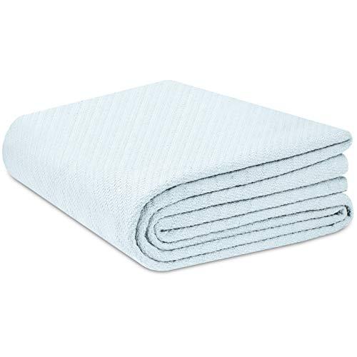 COTTON CRAFT - 100% Super Soft Premium Cotton Herringbone Twill Thermal Blanket - Full/Queen Sky Blue