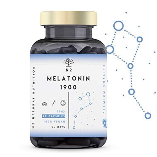 N2 Natural Nutrition Melatonina Pura 1,9 mg, 5HTP Griffonia, Vitamina B6. Alta Dosis. Facilita la Conciliación y Mejora Calidad del Sueño. Pastillas para dormir, Ansiedad, Insomnio. 90 Capsulas
