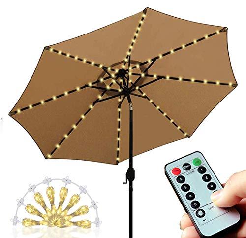 Lichterkette für Sonnenschirm led , LED Lichtbänder mit Fernbedienung 8 Modi Timer, Sonnenschirm Lichter 104 Leds Beleuchtung Regenschirm Außenleuchten Dekoration, Warmweißes Licht