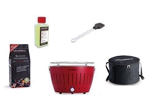 LotusGrill Barbecue Kit de démarrage 1x Lotus Barbecue Charbon de Bois de hêtre Feu Rouge, 1x 1kg, 1x Pâte Combustible 200ml, 1x Pinceau Gris Anthracite, 1x Sac de transpor