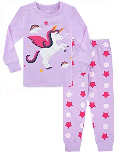 MOMBEBE COSLAND Pijama de Manga Larga para niña Unicornio (Unicornio 3, 2 años)