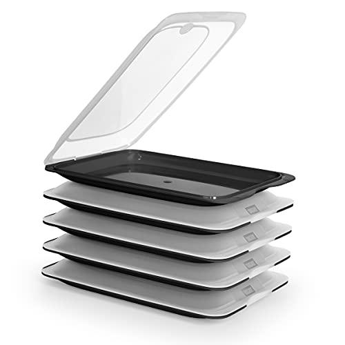 Hochwertige Aufschnitt-Boxen, Frischhaltedose für Aufschnitt Fresh System. Optimale Aufbewahrung im Kühlschrank, Maße 17 x 3.2 x 25.2 cm (5X Schwarz)