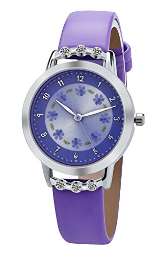 Girl Watches PASNEW Easy Use and Easy Reader Time Leather Band Watch for Kids...