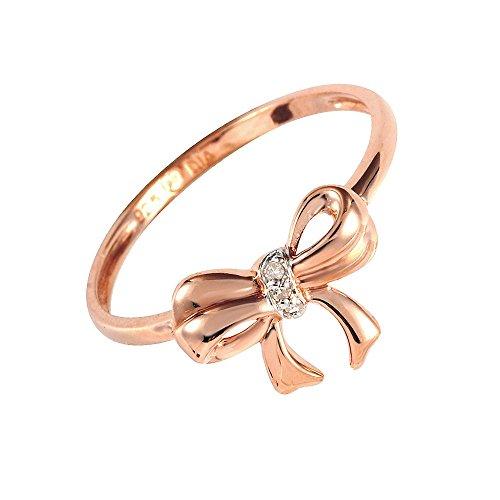 Ivy Gems plata de ley bañado en oro rosa diamond Juego Lazo Tamaño del anillo–P