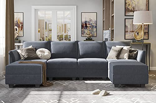 HONBAY Modern U-Shape Sectional Sofa Sleeper Couch with Reversible Chaise Modular Sofa with Ottomans, Bluish Grey